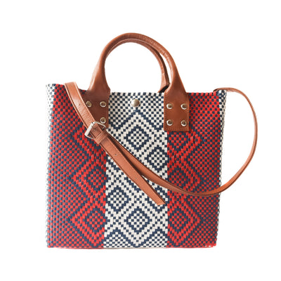 Piruli Medium Crossbody Bag - Red, white, and blue Woven Crossbody Bag with Camel Leather Strap, handles, and Interior Pouch - Tin Marin Brand - Crossbody bags for women - handwoven bags made by artisan communities