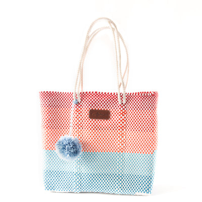 Sunrise Woven Tote with detachable nylon pouch - multi color beach tote - Tin Marin Brand - Cute beach totes - beach bags - woven bags - waterproof bags