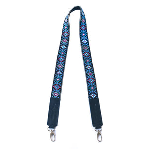 Mai Woven Bag Strap - Blue & Pink with Black Leather