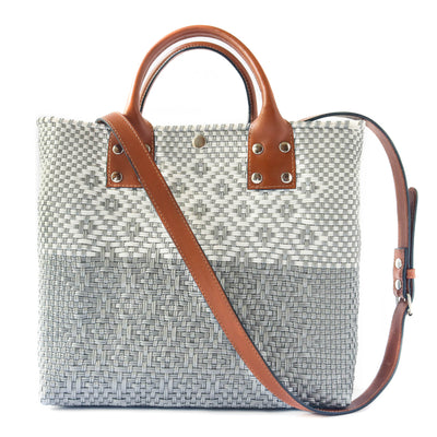 Tin Marin Grey Medium Crossbody Bag - Grey and white Woven Crossbody Bag with Camel Leather Strap, handles, and Interior Pouch - Tin Marin Brand - Crossbody bags for women - handwoven bags made by artisan communities
