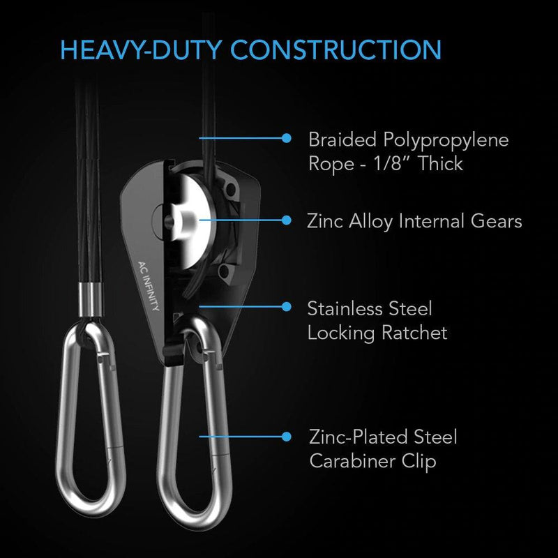 AC Infinity Heavy-Duty Juster bar Rope Clip Hanger - LEDvekstlys.no