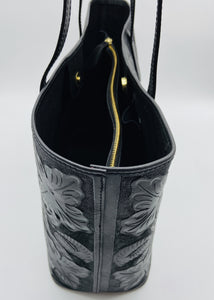 Atl Black Hand Tooled Leather Tote