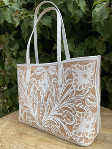 Atl Blanco Hand Tooled Leather Tote