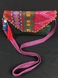 Che Maya Embroidered Leather Clutch Colores Decor