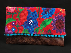 Chiapas Red Flower Embroidered Leather Handbag Colores Decor
