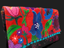 Load image into Gallery viewer, Chiapas Red Flower Embroidered Leather Handbag