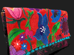 Chiapas Red Flower Embroidered Leather Handbag