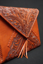 Load image into Gallery viewer, Envelope Hand Tooled Clutch