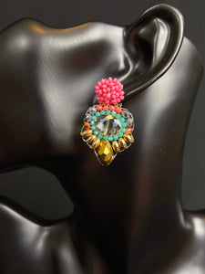 Eréndira Unique Mexican Handmade Trendy Dangle Womens Bead Earrings Colores Decor