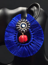 Load image into Gallery viewer, Eskua Azul Mexican Handmade Tassel Earrings Colores Decor