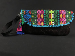 Flor de Mayo Maya Embroidered Leather Wristlet Colores Decor
