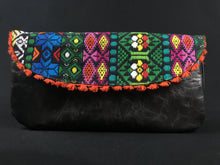 Load image into Gallery viewer, Flor de Mayo Orange Maya Embroidered Leather Wristlet Colores Decor