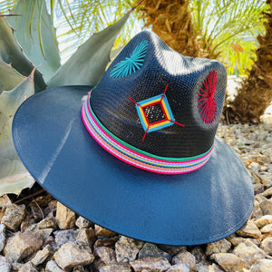 Hand Painted Fedora Hat- GOD's Eye Straw Hat CoLores Decor | Mexican Artisan Fashion & Design