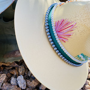 Hand Painted Fedora Hat- Palm Springs Straw Hat CoLores Decor | Mexican Artisan Fashion & Design