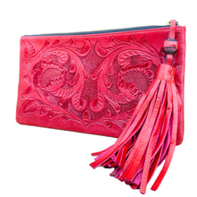 Load image into Gallery viewer, Hand Tooled Clutch- Oot Red Mexican Artisan Leather Clutch Handbag Colores Decor