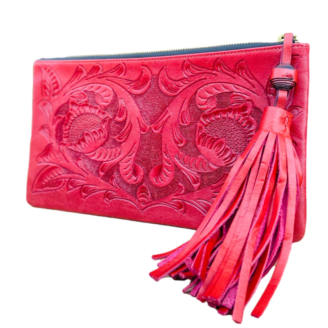 Hand Tooled Clutch- Oot Red Mexican Artisan Leather Clutch Handbag Colores Decor