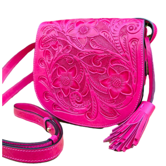 Hand Tooled Crossbody- Kin Pink Mexican Artisan Leather Crossbody Colores Decor l Mexican Artisan Fashion & Design