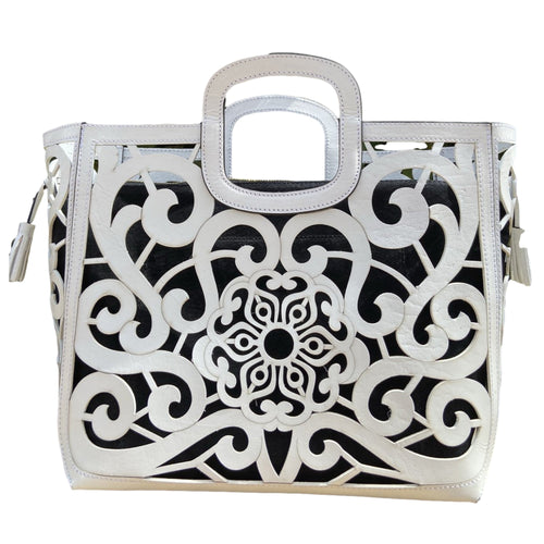 Hand Tooled Tote- Tlali Blanco Mexican Artisan Leather Tote Handbag Colores Decor