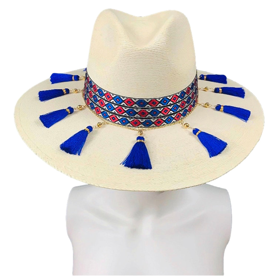 Handmade Panama Hat- La Jefa Mexican Artisan Hat Colores Decor