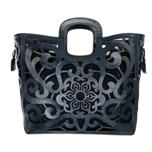 Load image into Gallery viewer, Hand Tooled Tote- Tlali Black Mexican Artisan Leather Tote Handbag