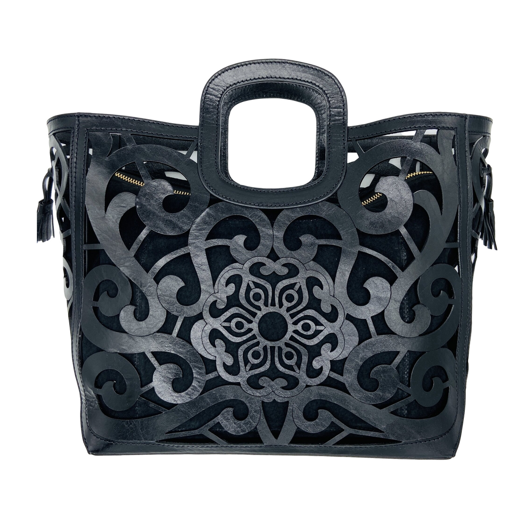 Hand Tooled Tote- Tlali Black Mexican Artisan Leather Tote Handbag
