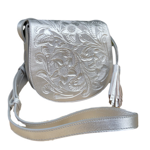 Hand Tooled Crossbody- Kin Platinum Mexican Artisan Leather Crossbody