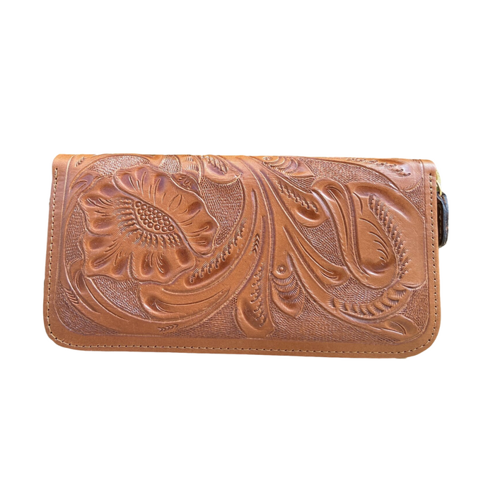 Hand Tooled Wallet- Maan Camel Mexican Artisan Leather Wallet