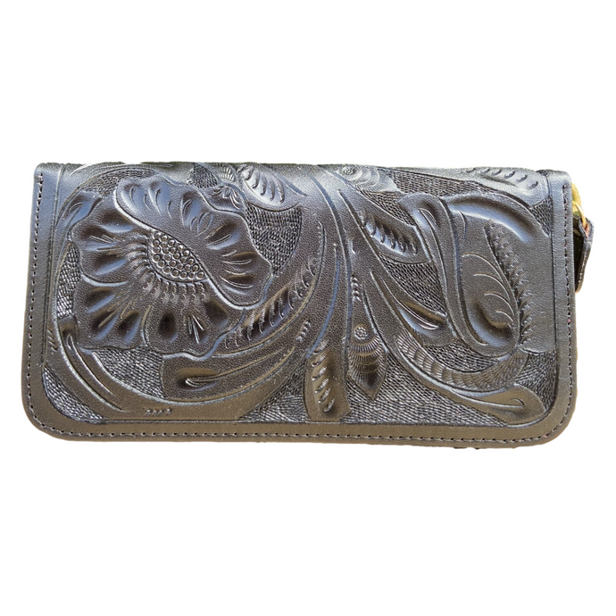 Hand Tooled Wallet- Maan Black Mexican Artisan Leather Wallet