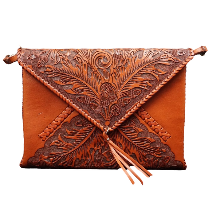 Envelope Hand Tooled Clutch