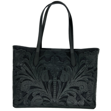 Load image into Gallery viewer, Hand Tooled Tote- Atl Black Mexican Artisan Leather Tote Handbag