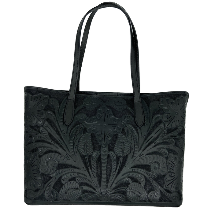 Hand Tooled Tote- Atl Black Mexican Artisan Leather Tote Handbag