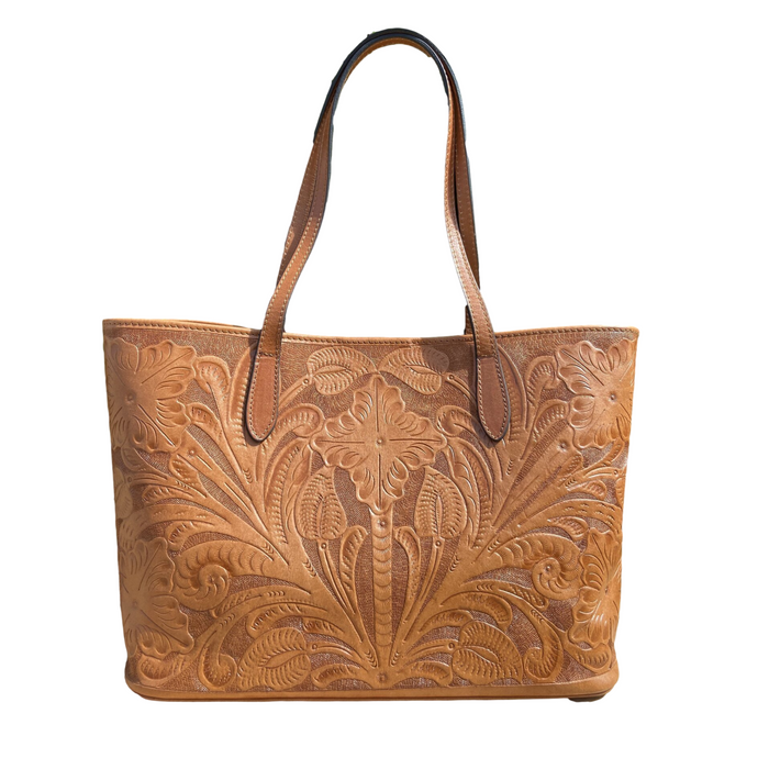 Hand Tooled Tote- Atl Caramelo Mexican Artisan Leather Tote Handbag