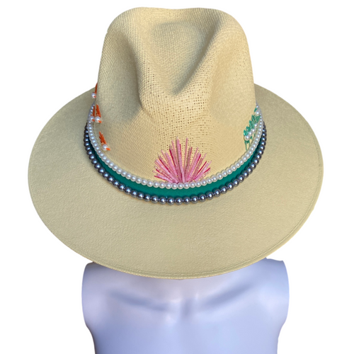 Hand Painted Fedora Hat- Palm Springs Straw Hat