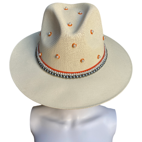 2 STYLES in 1 Hand Painted Fedora Hat- Tulum Straw Hat