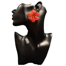 Load image into Gallery viewer, Bead Earrings- Orange Tsakapu Handmade Unique Mexican Artisan Stud Earrings