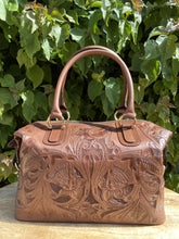 Load image into Gallery viewer, Kuali Expresso Hand Tooled Leather Travel Bag