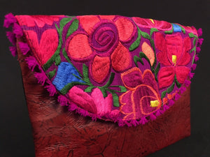 Lazdao Chiapas Embroidered Red Leather Clutch Colores Decor