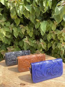 Maan Camel Hand Tooled Leather Wallet
