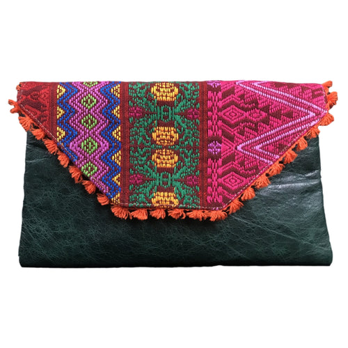 Mexican Embroidered Clutch- Che Maya Leather Clutch Handbag Colores Decor