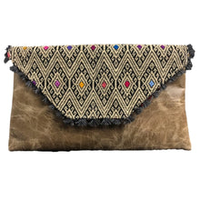 Load image into Gallery viewer, Mexican Embroidered Clutch- Diamante Chiapas Leather Clutch Handbag Colores Decor