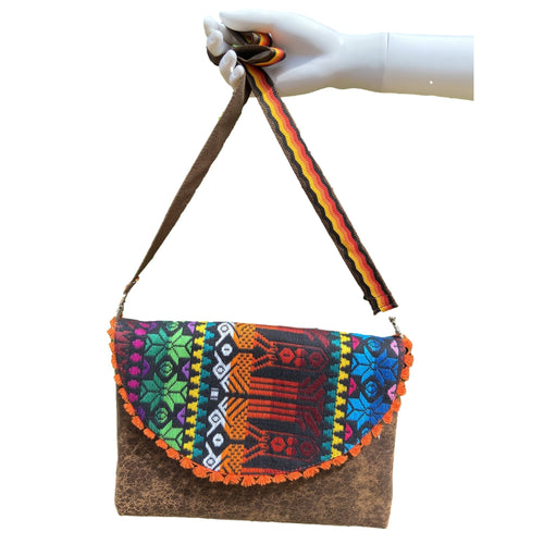 Mexican Embroidered Clutch- Koos Maya Leather Clutch Handbag Colores Decor