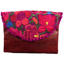 Load image into Gallery viewer, Mexican Embroidered Clutch- Lazdao Leather Clutch Handbag Colores Decor