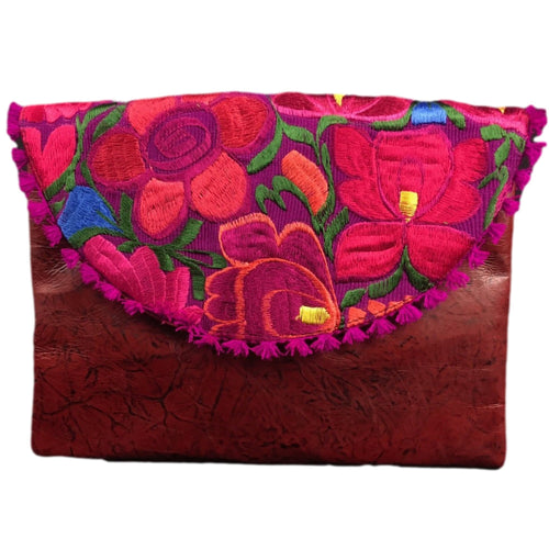 Mexican Embroidered Clutch- Lazdao Leather Clutch Handbag Colores Decor
