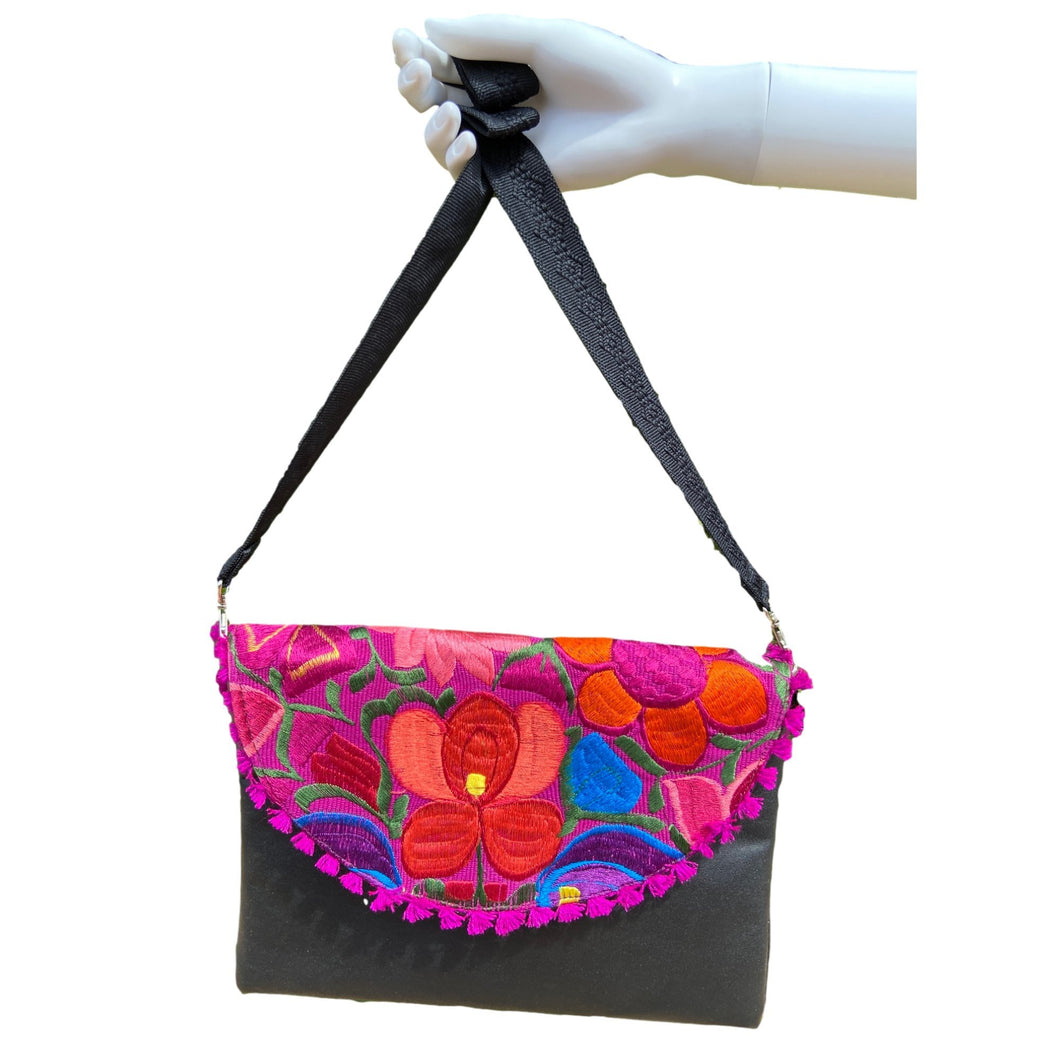 Mexican Embroidered Clutch- Mozad Leather Clutch Handbag Colores Decor