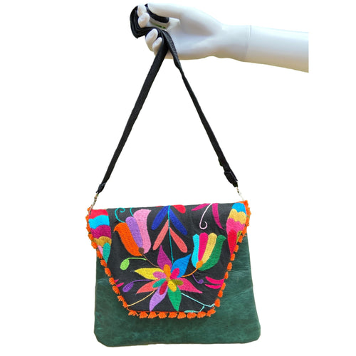 Mexican Embroidered Clutch- Otomi Tenango Leather Clutch Handbag Colores Decor