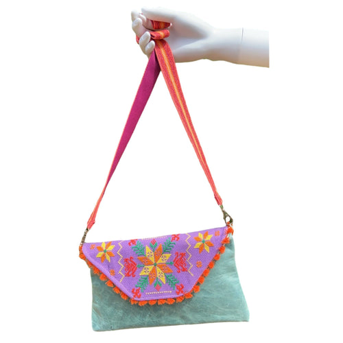 Mexican Embroidered Clutch- Tenek Leather Clutch Handbag Colores Decor