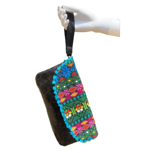 Mexican Embroidered Wristlet- Flor de Mayo Maya Leather Wristlet Colores Decor