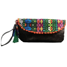 Load image into Gallery viewer, Mexican Embroidered Wristlet- Flor de Mayo Orange Leather Wristlet Colores Decor