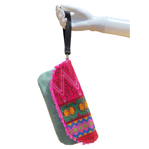 Mexican Embroidered Wristlet- Sayab Maya Leather Wristlet Colores Decor