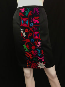 Mexican Fashion Designer Puebla Embroidered Black Pencil Skirt Colores Decor